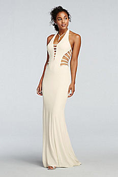 Beaded Illusion Cut Out Fitted Halter Prom Dress 1615P1312