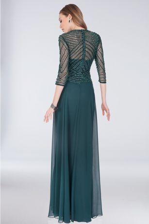 Beaded Bodice Georgette Sheath Gown With Peplum David S