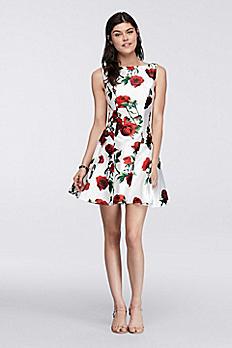 Sleeveless Mikado Rose Print Short Dress 1625H2109