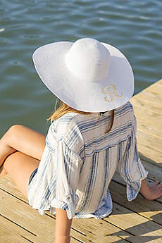 Single Initial Personalized Beach Hat