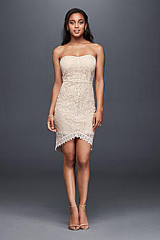 Strapless Lace Mini Dress With Fishtail Hem 1678