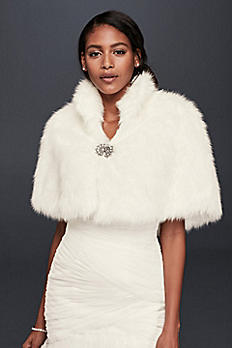Faux-Fur Capelet with Jeweled Brooch 17031