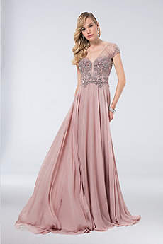 Long Ballgown Short Sleeves Formal Dresses Dress - Terani Couture