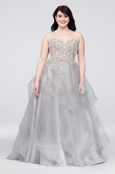Appliqued Illusion Ruffled Plus Size Ball Gown   David\'s Bridal
