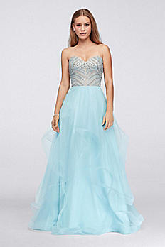 Tiered Tulle Gown with Crystal and Pearl Bodice 1711P2838