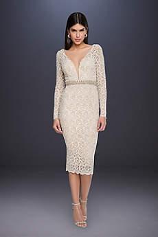 Tea Length Long Sleeves Dress - Terani Couture