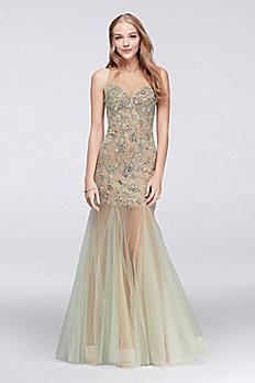 Illusion Mermaid Dress with Beaded Embellishment 1712P2451