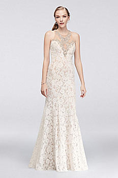 Allover Lace Mermaid Dress with Crystal Neckline 1712P2469