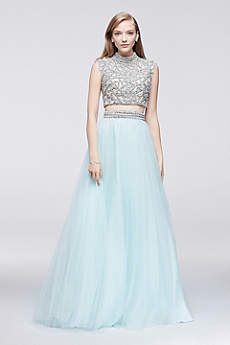 Long Ballgown Cap Sleeves Prom Dress - Glamour