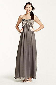 Long Chiffon Strapless Dress with Beaded Bodice 173130