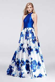 Long Ballgown Halter Prom Dress - Colors