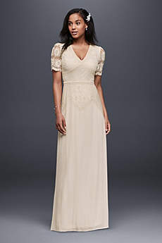 Long Sheath Vintage Wedding Dress - Soieblu