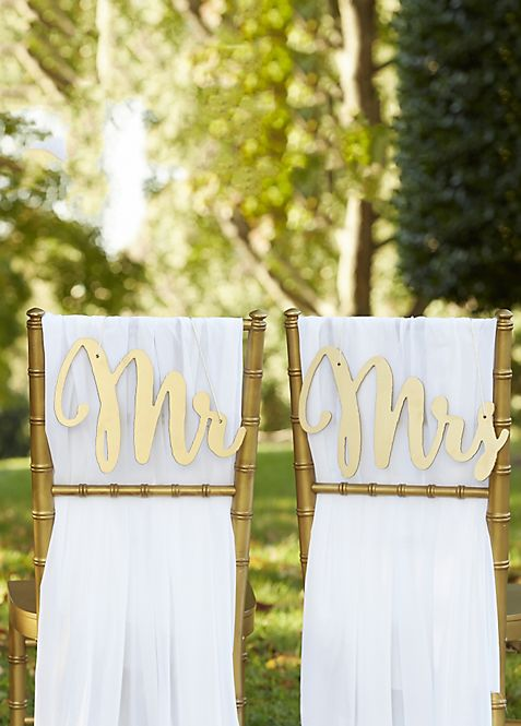 Gold Promises Classic Mr and Mrs Chair Signs | David\'s Bridal