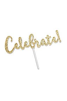 Celebrate Gold Glitter Acrylic Cake Topper 18135CB