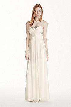 Strapless Mesh Pleated Crystal Embellished Dress 182244DB
