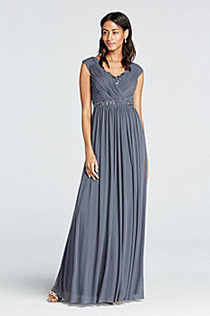 Cap Sleeve V-Neck Floor Length Dress 182410