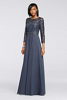 Sequin Lace Long Chiffon Dress with 3/4 Sleeves 182734
