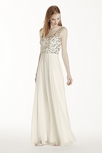 Illusion Neckline Crystal Bodice Chiffon Dress 182892DB