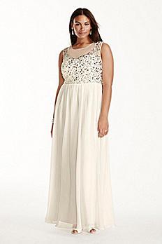 Crystal Bodice Illusion Neckline Chiffon Dress 182892W
