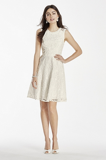 Short Lace Dress with Illusion Back Detail 182939K