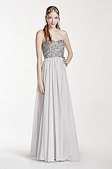 Strapless Geometric Beaded Prom Dress 182943DB