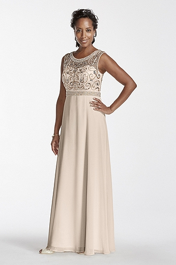 Long Chiffon Dress with Beaded Illusion Bodice 182944DB