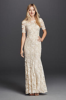 Illusion Short Sleeve Long Lace Sheath 182949