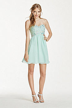 Sequin and Crystal Embellished Chiffon Dress 182961