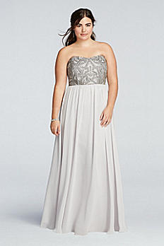 Strapless Geometric Beaded Prom Dress 182943DBW