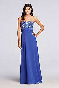 Strapless Chiffon Prom Dress with Lace Bodice 183020DB