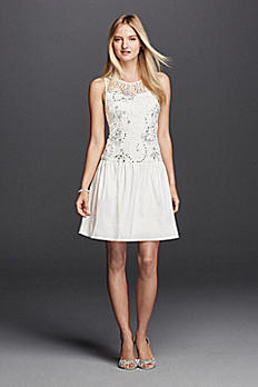 Illusion Tank Lace Bodice with Taffeta Skirt 183040