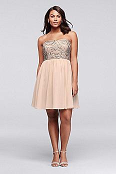Beaded Short Plus Size Dress with Chiffon Skirt 183082DW