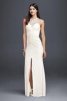 Jersey Beaded Halter Sheath Wedding Dress 183116DB