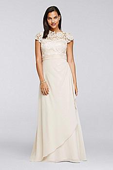 Cap Sleeve Lace Long Dress 183146DB