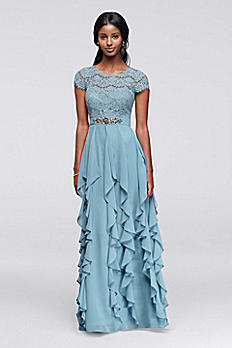 Long Dress with Lace Bodice and Ruffled Skirt 183165DB