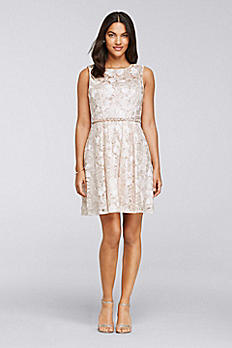 Short Pleated Floral Lace Dress 183533DB