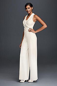 Tuxedo Lapel Bridal Jumpsuit 183545DB
