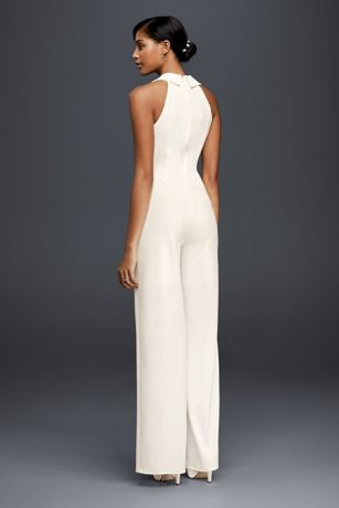 Tuxedo Lapel Bridal Jumpsuit David S Bridal