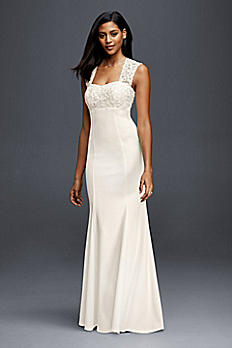 Lace and Crepe Sheath Wedding Dress 183625DB