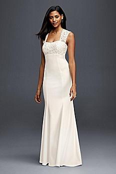 Lace and Crepe Sheath Wedding Dress 183625DB