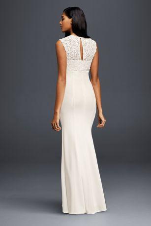 Lace And Crepe Sheath Wedding Dress David S Bridal