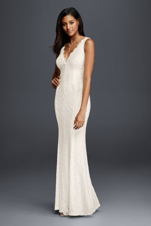 Allover lace v neck sheath wedding dress david 39 s bridal for Simple form fitting wedding dresses
