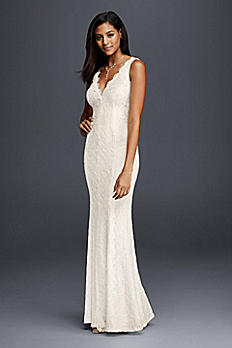 Allover Lace V-Neck Sheath Wedding Dress 183626DB