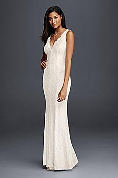 Allover Lace V-Neck Sheath Wedding Dress 183626DB