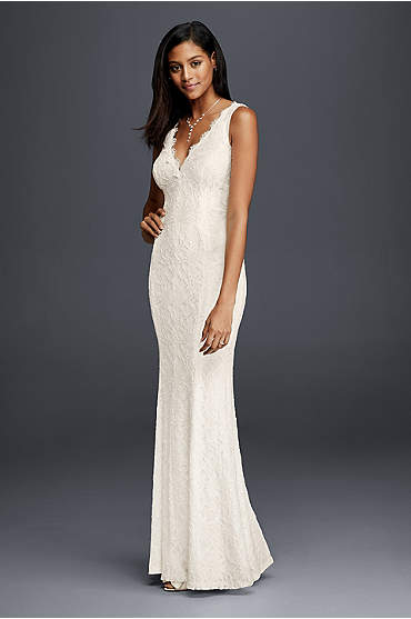 Allover Lace V-Neck Sheath Wedding Dress