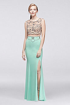 Beaded Bodice Mermaid Dress with Slit Skirt 184060DB