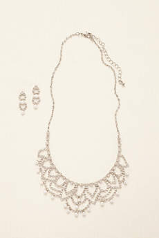Scalloped Necklace with Pearls and Earring Set