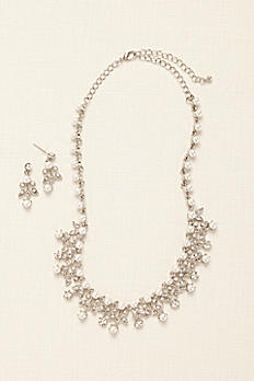 Pearl and Rhinestone Scroll Necklace Set 1905430