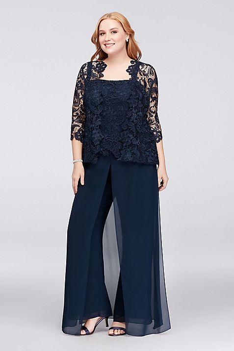 Guipure Lace and Chiffon Plus Size Pant Suit | David\'s Bridal