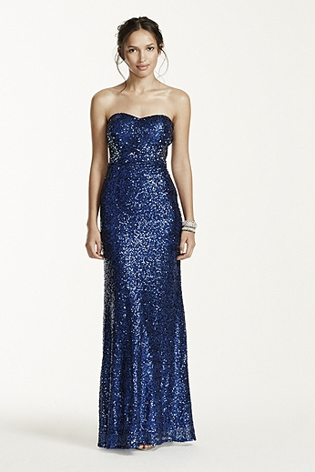 Strapless All Over Sequin Dress with Illusion Back 194A